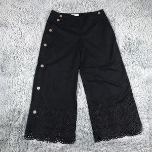 Anthropologie Elevenses Black Button Pants Sz 8